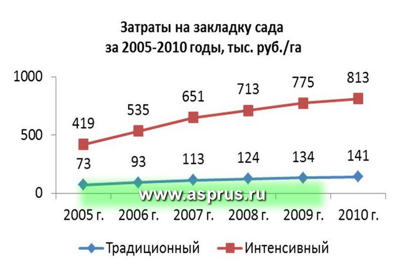 Затраты на закладку сада за 2005-2010 годы, тыс. руб./г