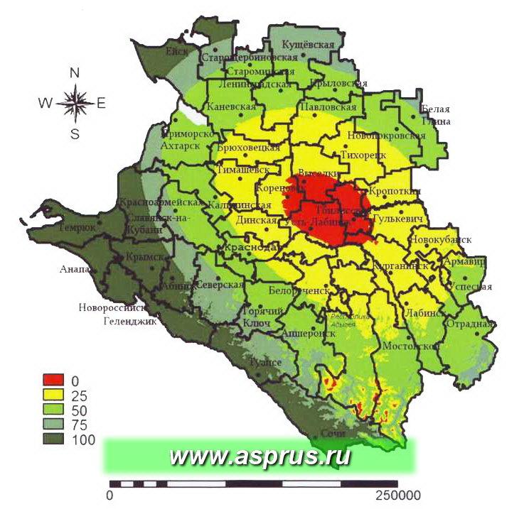 Карта пригодности территории Краснодарского края для культуры груши по минимальным температурам зимне-весеннего периода