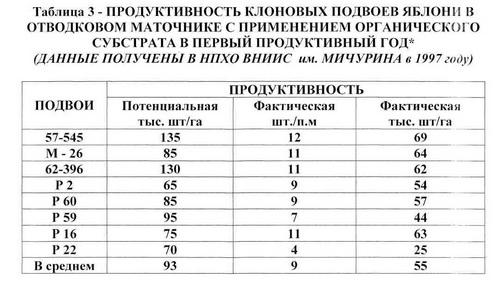 Таблица 3 - Продук. интенсив. маточника клон.подв.