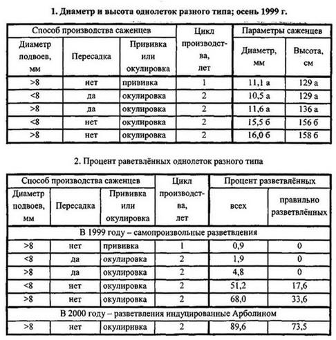 Таблица 1 и 2 - Диаметр и высота однолеток разного типа